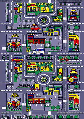 3x5  Area Rug Play Road Driving Time  Street Car Kids City Map Fun Time New Gray