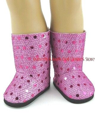 Hot Pink Sequin Boots 18 in Doll Clothes Fits American Girl - Hot Girl In Boots