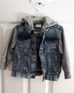 Toddler Denim Jacket with Hood: Size 18 months