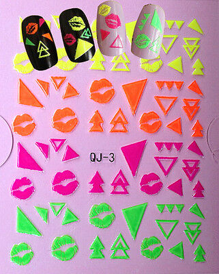 Nail Art 3D Decal Stickers Neon Lips Triangles Shapes Kisses QJ3 Sticker Art Shapes