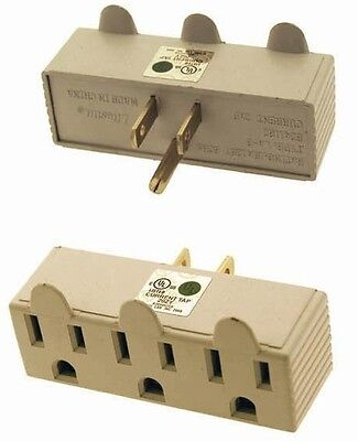 3 Outlet 3 Prong Grouned Electric Adapter Plug Wall Tap Space Saver- Ul