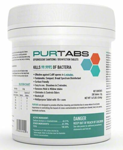 PURTABS Hospital viral disinfect 200 Ct 3.3g Tablets-virucide EARTHSAFE PROTEXUS