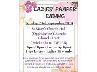 Ladies' Pamper Evening - Sunday 23rd September 2018 - Twickenhamm Middlesex.