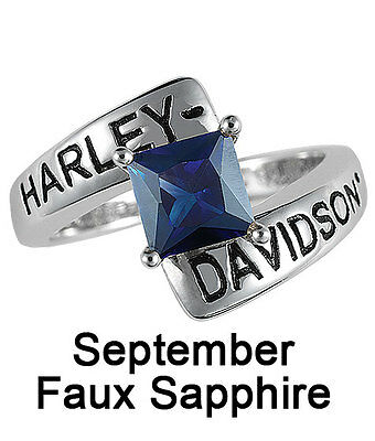 Harley-davidson® September Birthstone Ring - Faux Sapphire - Size 5 D4j8833
