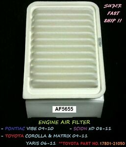Toyota Air Filter Corolla 09-11 Matrix Yaris06-11 Pontiac Vibe & Scion xD ^o^