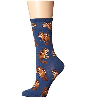 Chipmunk Cheeks Socks Blue Crew Fall Autumn Acorns Sock Shoe Size 5-11