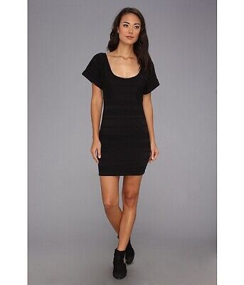 NWT $108 FREE PEOPLE Black Textured LUNCH DATE Stretch BODYCON Dress LARGE