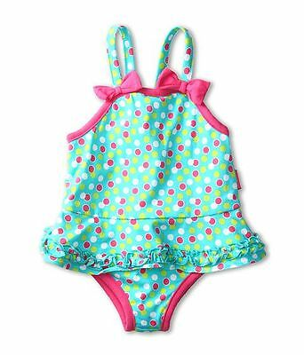 LE TOP GIRL'S SWIRLY GIRLY AQUA & PINK DOT SWIMSUIT 9 MONTHS BATHINGSUIT