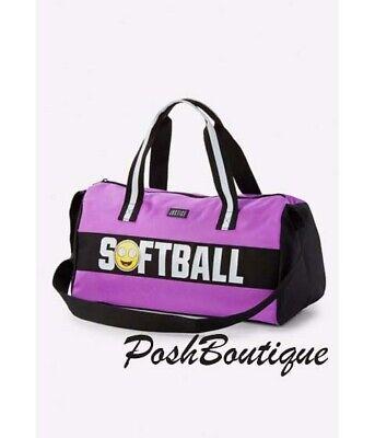 NWT Justice Softball Duffle Tote Bag Emoji ! Sparkles! Glitter! ](Softball Emoji)