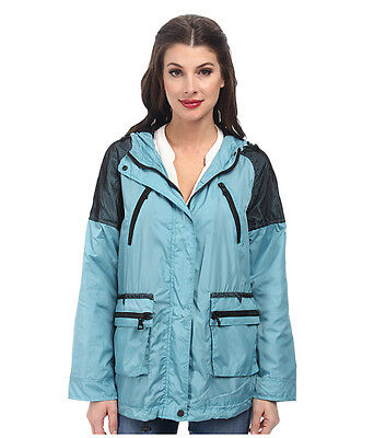 Nwt   190 Sam Edelman Mesh Trimmed Hooded Teal Jacket Size Medium   Polyester