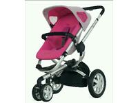 quinny buzz 3 ltd edition roller pink travel system with carrycot and many extras!