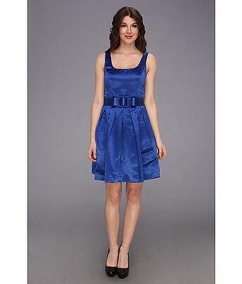 DONNA MORGAN Scoop Neck Full Skirt Royal Blue Sapphire Dress with Bow Belt Sz 14 Morgan Scoop Neck