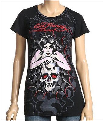 ED Hardy Womens spider Web Woman Skull Black T Shirt Medium