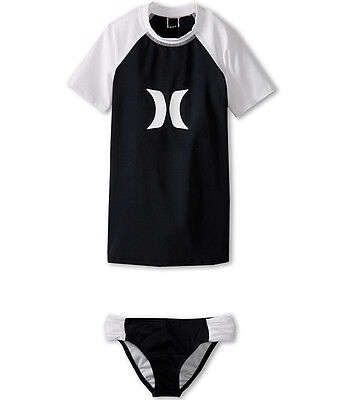 Hurley Girls M 10 Swimsuit 2 Pc Tankini Rash Guard Set Short Sleeve Black Bikini