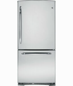 BRAND NEW FRIDGE GE 21CU BETTOM MOUNT FREEZER STAINLESS STEEL