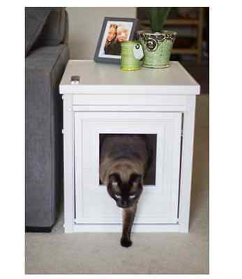 Litter Box Furniture Hidden Cat Kitty Bed Bathroom Stand Side Table White Wooden