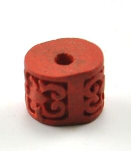6-xVintage-Chinese-Lacquer-Red-Cinnabar-Hand-Carve-Flower-Bead-Pendent-Jewelry