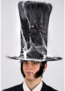 Extra Tall Top Hat Halloween Undertaker Fancy Dress Adults Grave Digger Spider