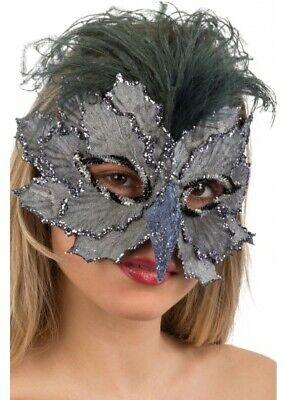 Grau Vogel Maskenball-Maske Halbschuhe Blätter Schnabel Federn - Vogel Schnabel Maske Kostüm