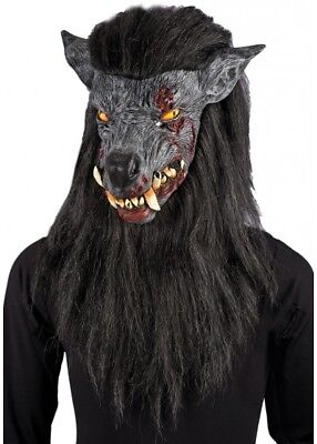 Gris Hombre Lobo Máscara con Pelo Negro Disfraz de Halloween Zombie Perro](Hombre Lobo Halloween)