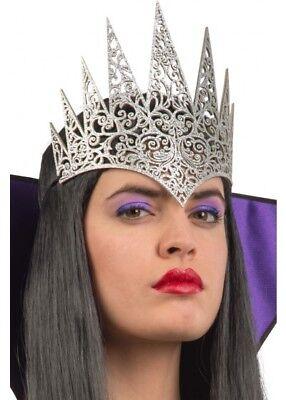 SILVER Evil Fairy tale Queen Crown Wicked Witch World Book Week Fancy Dress