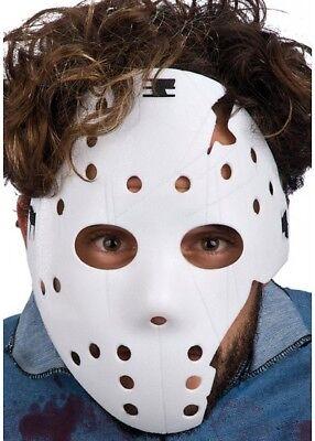 Weiß Beschädigt Jason Hockey Maske Friday 13. Halloween Erwachsene Kostüm Horror