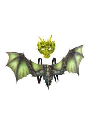 Grün Drachen Maske mit Flügeln Kostüm Halloween Fantasie Larp Cosplay