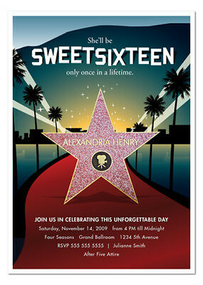 8 Hollywood Red Carpet Birthday Sweet 16  (all ages) Personalized - Personalized Sweet 16 Invitations