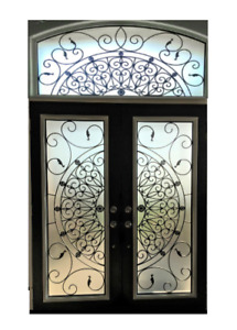 Glass inserts front door stained glass wrought iron glass decor