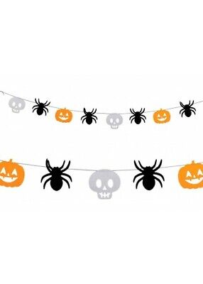 Halloween Decoration Felt Garland 1.2m Spider Skull Pumpkin Hanging Prop 09272