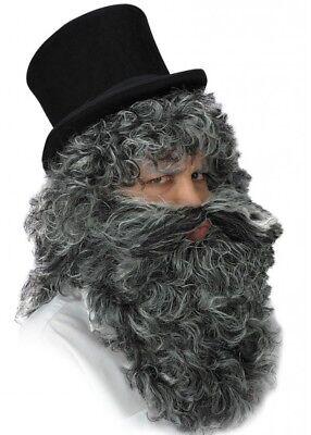 Grau Zauberer Perücke und Bart Kostüm Alter Mann Hagrid Höhlenmensch Halloween ()