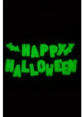 Fluoreszierend Happy Halloween Fledermaus Gel Aufkleber Fenster Dekorationen ()