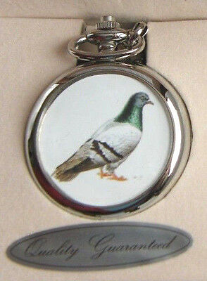 PIGEON BADGE RACING FANCIER BIRD BIRDS DESIGN POCKET WATCH CHAIN FREE KEYRING