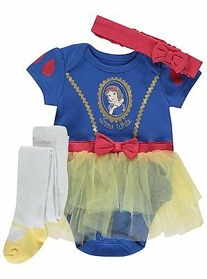 Baby Mädchen 3 Teile Schneewittchen Party/Kostüm/Outfit 0-18 - Disney Baby Schneewittchen Kostüm