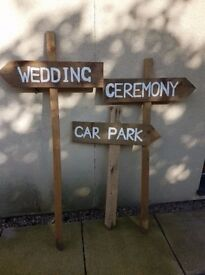 3 large Rustic wedding signs / posts