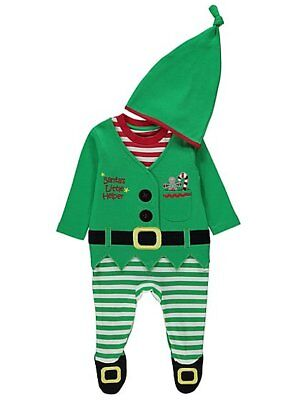 Baby Jungen Weihnachtselfe Alles in Eins & Hut Verkleidung Größe 0-18 - Weihnachtself Baby Kostüm