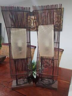 tall Bali inspired lamps