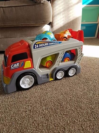 lights and sounds car transporter with 4 cars