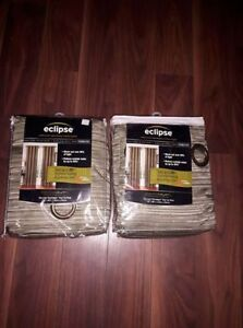 2 brand new curtains color-Sage green and grey sparkle sripes