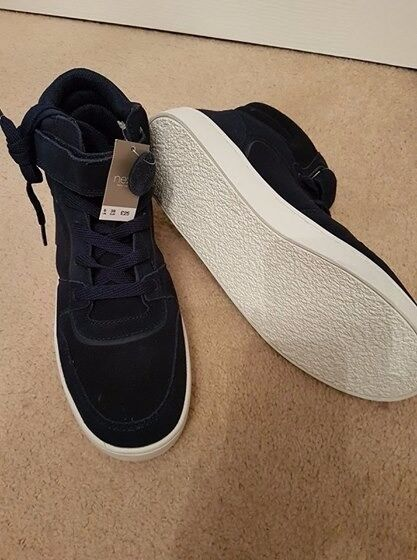 Boys next navy suede boots size 6.