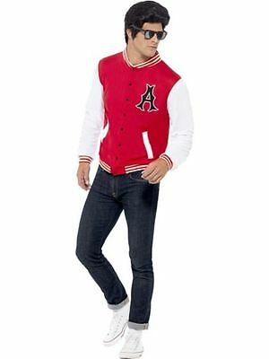 Mens Letterman Jacket 50s Style Halloween Costume Football Player Greaser Adult (Mens 50s Costume)