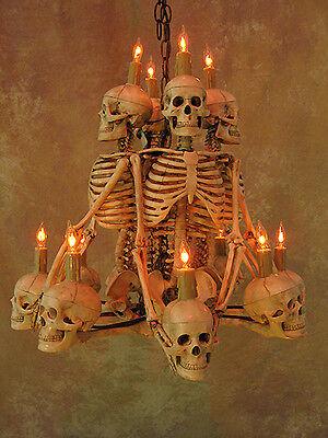 Four Skeleton Chandelier, Halloween Prop, Human Skeletons Skulls, NEW (Halloween Four)