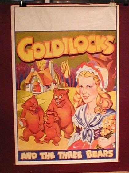 Vaudeville Lithograph Goldilocks & TheThree Bears Original Show Poster  c1920