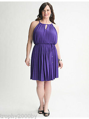 NEW LANE BRYANT PLUS SIZE PURPLE PLEATED A-LINE DRESS SZ 22/24