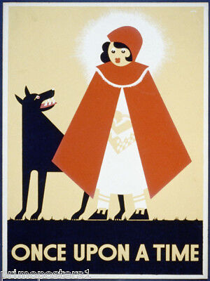 ONCE UPON A TIME LITTLE RED RIDING HOOD BAD WOLF FAIRY TALE VINTAGE POSTER