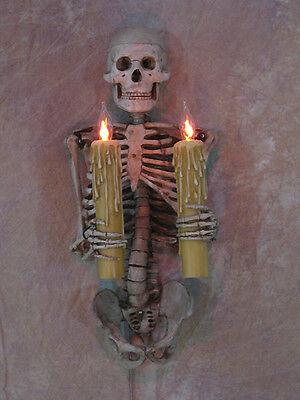 Skeleton Torso Wall Sconce holding Candles, Skull, Halloween Prop - Skeleton Torso