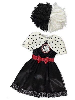 George Disney Cruella De Vil Girls Fancy Dress Costume Outfit World Book Day](Cruella De Vil Costume Kids)