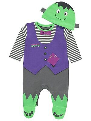 Baby boys Halloween Frankie All in One with Hat Outfit 0-12 - Baby Halloween All In Ones