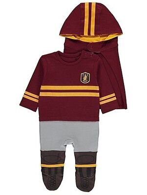 Halloween Harry Potter Quidditch All-in-One Hat & Hooded Cape 3-6m Outfit Wizard ()