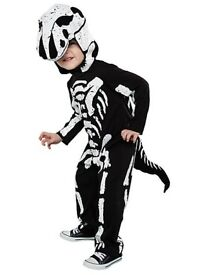 KIDS SKELETON DINOSAUR FANCY DRESS OUTFIT AGE 1/12 TO 2 YEARS NEW